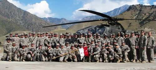 "Black Knights B Troop pose for ""Thank You"" Photo at Camp Blessing"