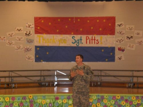 SSG Pitts talking to 5th graders 1