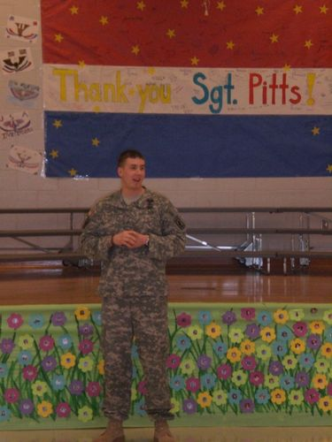 SSG Pitts talking to 5th graders 3