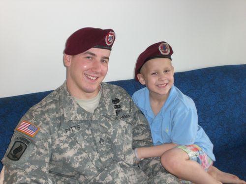 Ryan and Evan wearing Paratrooper berets 2