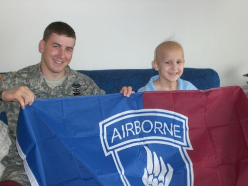 Ryan and Evan with 173rd Airborne Flag