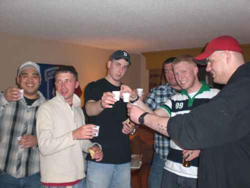 Deloria, Delany, Pitts, Dwzik, Hissong and Remmel toast their Fallen Brothers